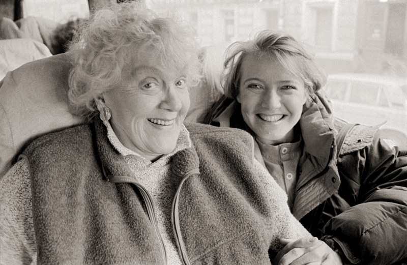 Anne Noggle and Rita Ponamaryova, on the Bus to Ryazan, 1992. by Jim Holbrook
