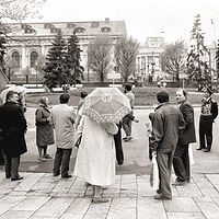 Crossing to the Bolshoi, Moscow, 1992 by Jim Holbrook