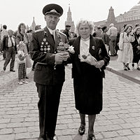 Military veterans, Victory Day, Red Square, Moscow, 1992. by Jim Holbrook