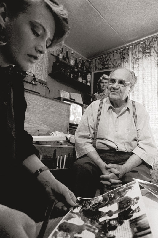 Interviewer and Translator Margarita Ponamaryova with Yevgeni Khaldei, Photographer of Great Patriotic War, Moscow, 1992 by Jim Holbrook
