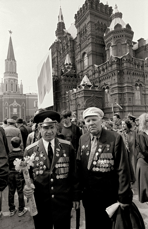 Russian Veterans on Victory Day, Red Square, Moscow,1992 by Jim Holbrook