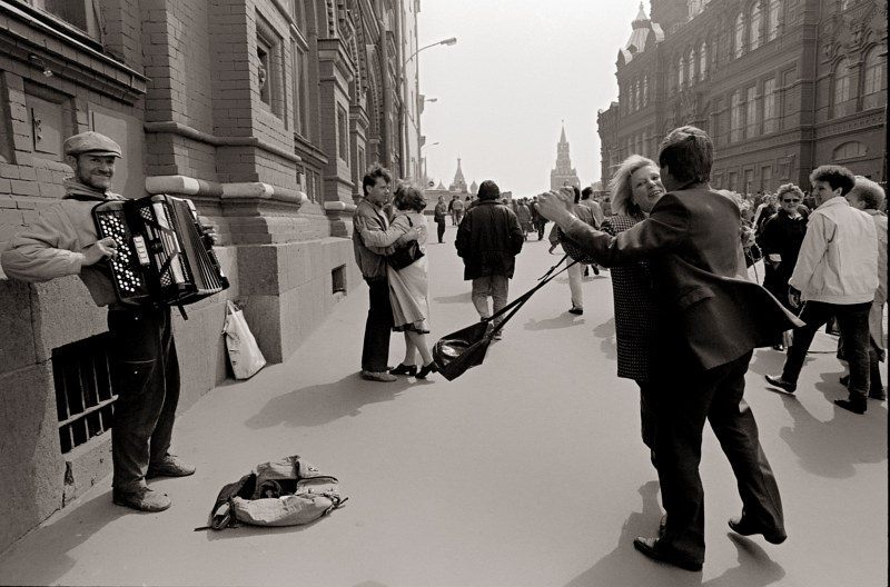 Street Musician, Victory Day in Red Square, Moscow, 1992 by Jim Holbrook