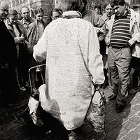 Man with Message Coat, Red Square, Moscow, 1992 by Jim Holbrook