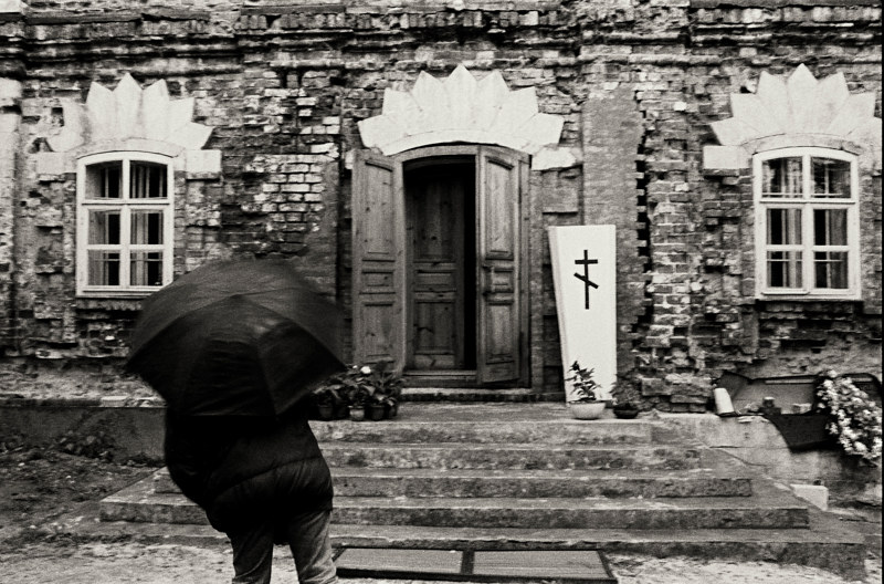 Anne with Umbrella, Ryazan, Russia, 1992 by Jim Holbrook