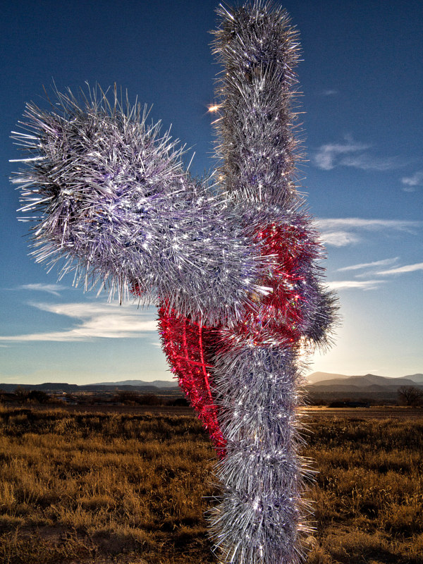 Tinsel Cross in Median strip, in front of Okeh Casino,  Espanola, NM. 2015 by Jim Holbrook
