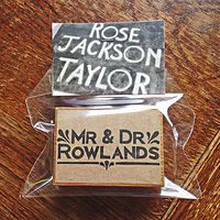 Mr and Dr Rowlands Handmade Rubber Stamp by ROSE WILLIAMS