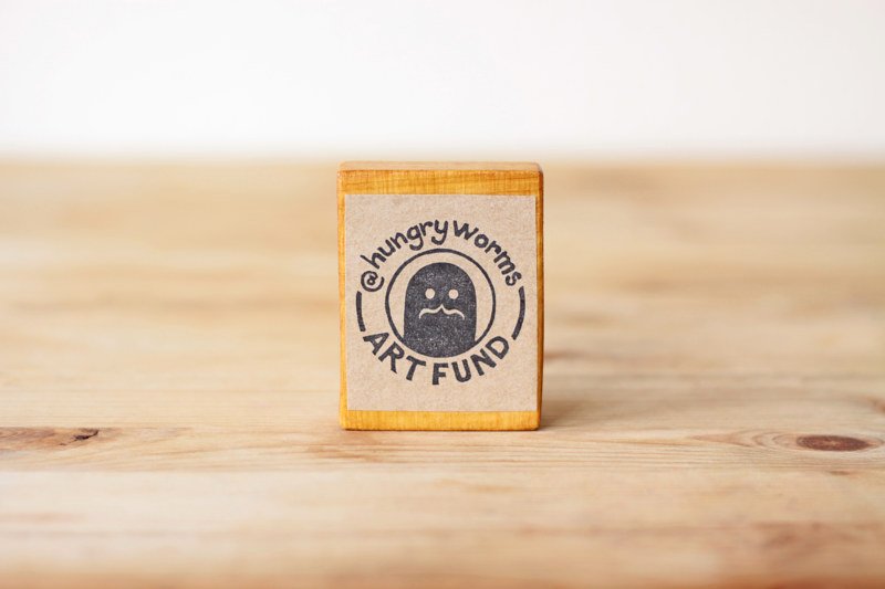 Hungry Worms Art Fund - Handmade Rubber Stamp by ROSE WILLIAMS