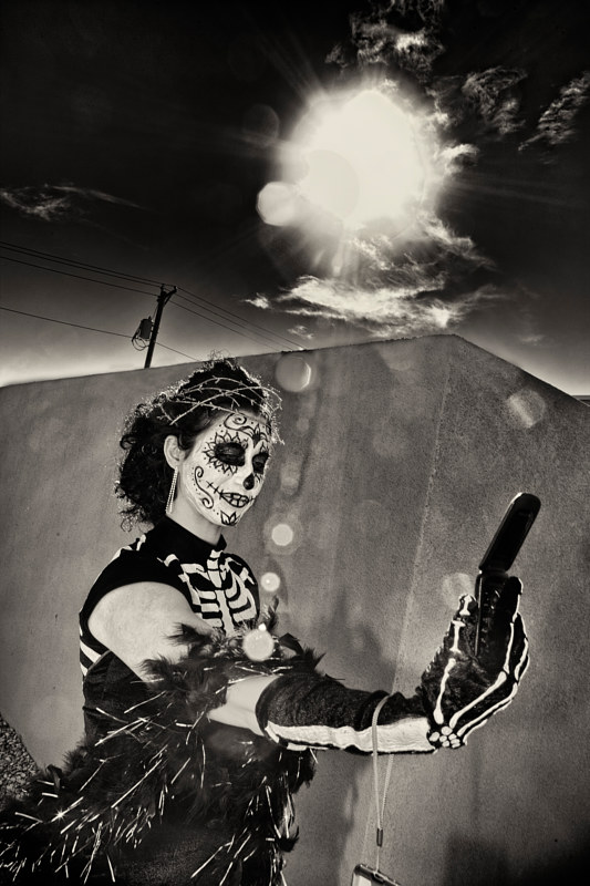 Skeleton Selfie, South Valley Marigold Parade, Albuquerque, NM, 2012. by Jim Holbrook