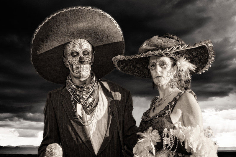 Mariachi and Catrina, Marigold Parade, 2009. by Jim Holbrook