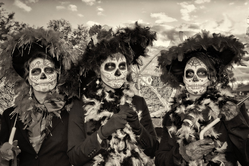 Catrinas, South Valley Marigold Parade, Albuquerque, NM, 2010 by Jim Holbrook