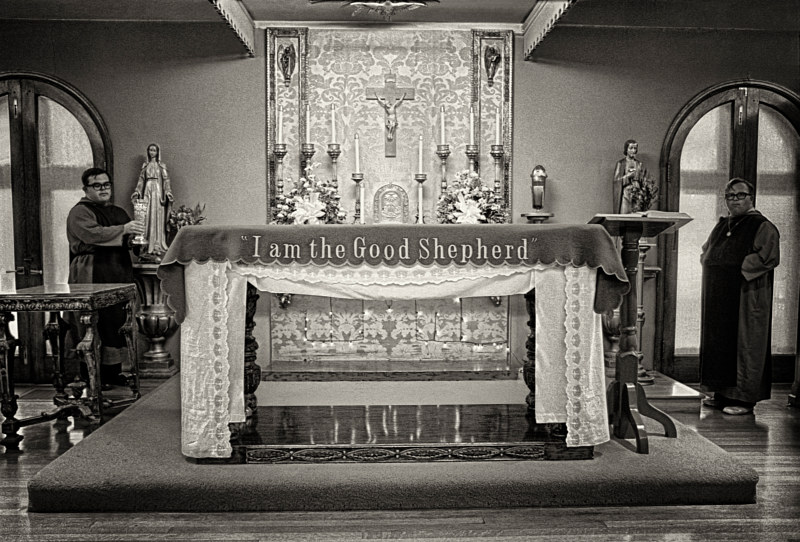 Novitiates at the altar in the Mother House, Albuquerque, NM, 1974. by Jim Holbrook