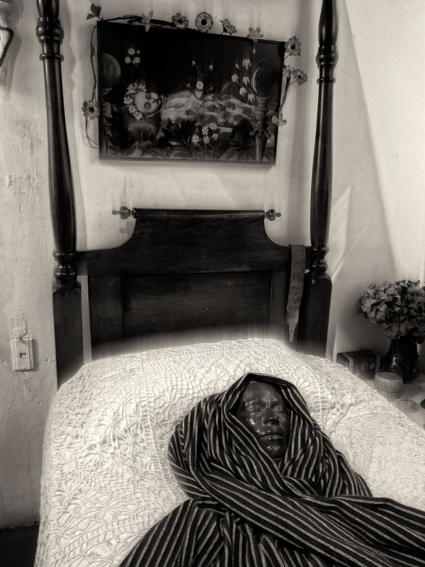 Frida Kahlo's Death Mask and Bed, Coyoacan, Mexico, 2014 by Jim Holbrook