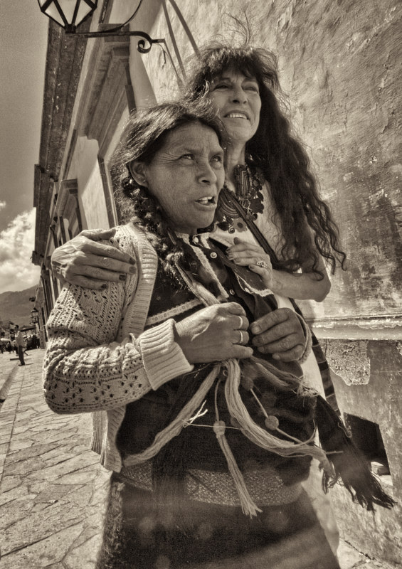 Manina with Mayan Woman, San Cristobal de las Casas, Chiapas, Mexico, 2014 by Jim Holbrook