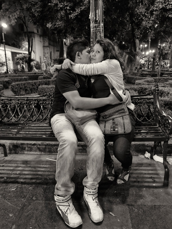Park Bench Lovers, Coyoacan, Mexico, 2014. by Jim Holbrook