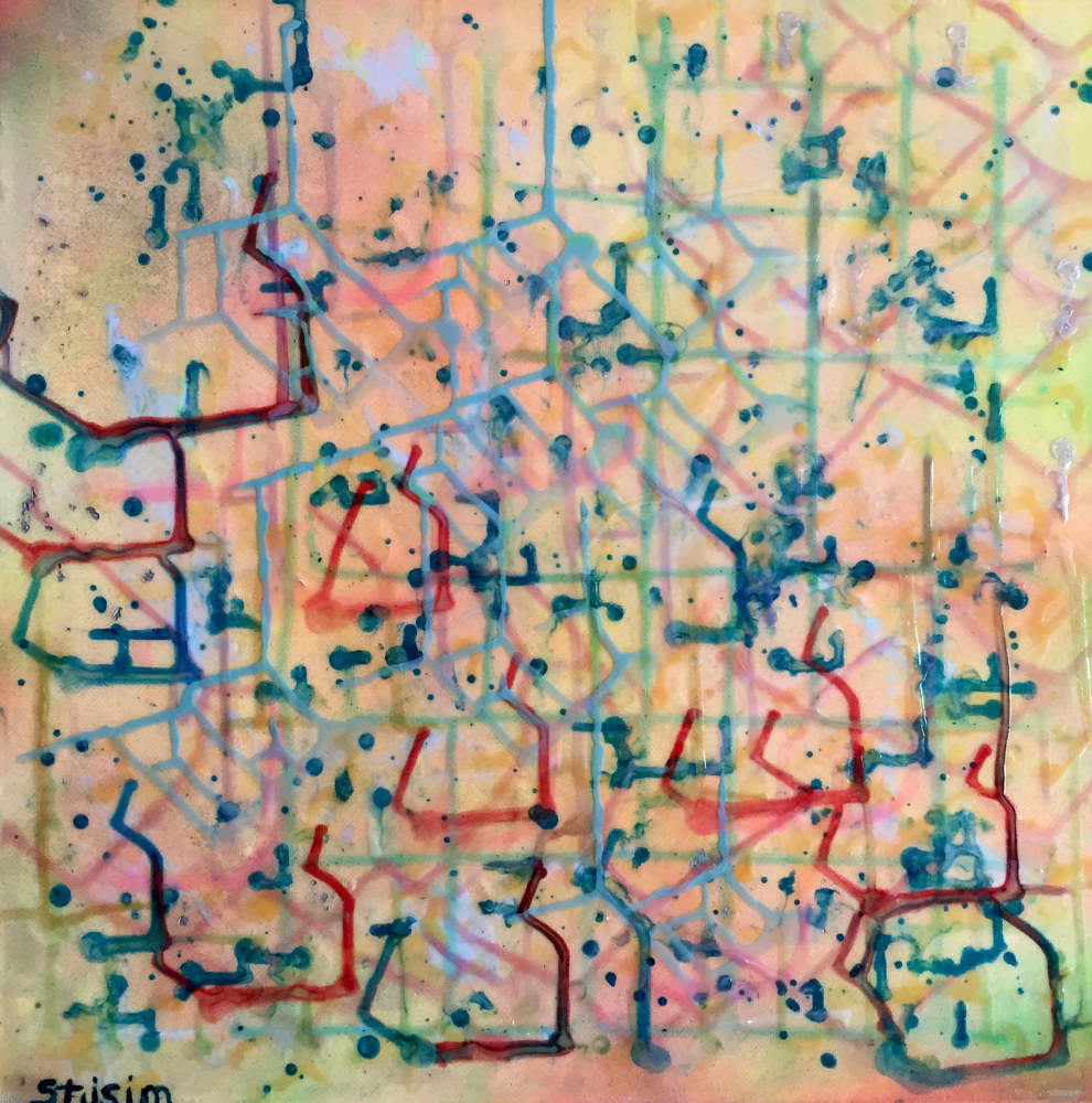 Acrylic painting Off The Grid Schematic by Steven Simmons
