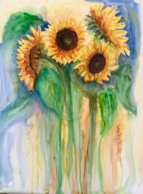 Watercolor Bouquet of Sunshine  by Karen Brodeur