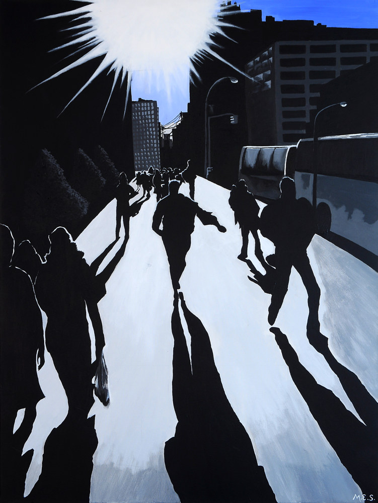 Acrylic painting City Silhouettes 1 by Meghan Sims