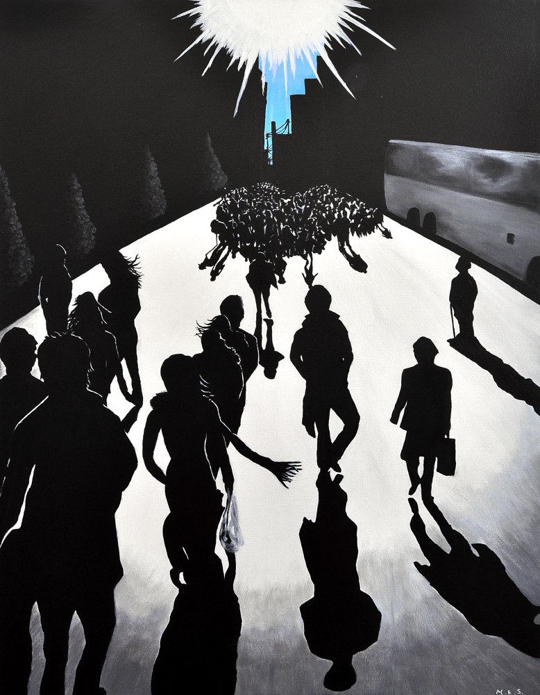 Acrylic painting City Silhouettes 3 by Meghan Sims