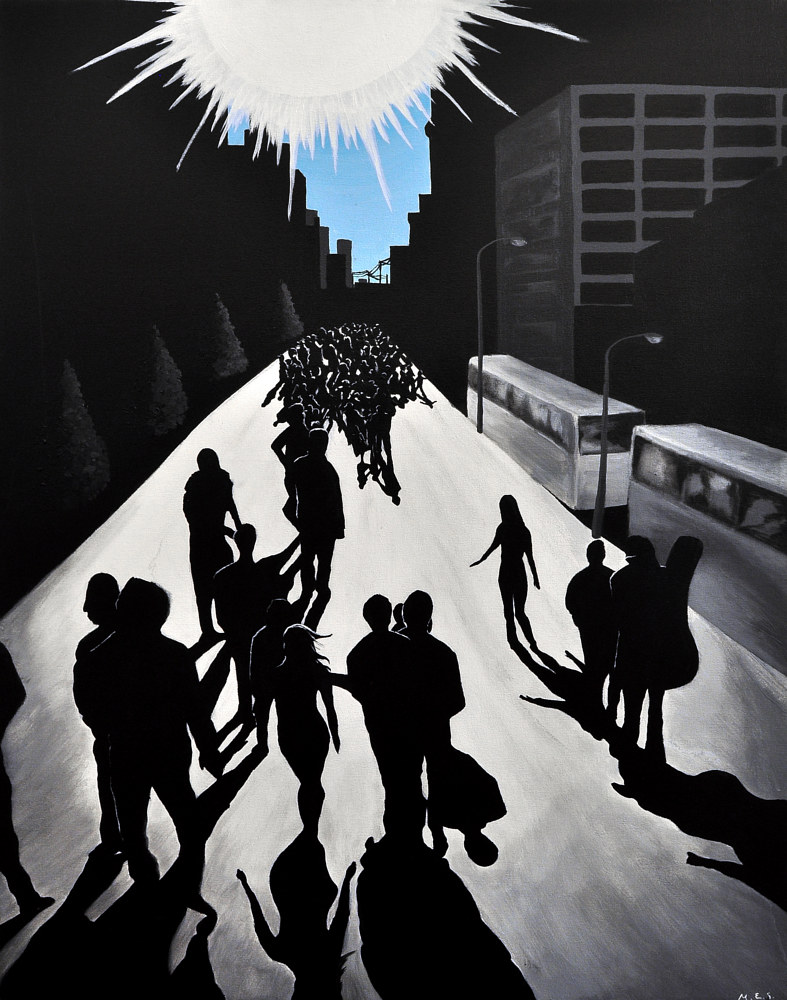 Acrylic painting City Silhouettes 4 by Meghan Sims