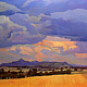 Oil painting Panoramic country sky by Guntis Jansons