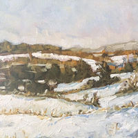 Oil painting Snow on Woodlands by Sarah Trundle