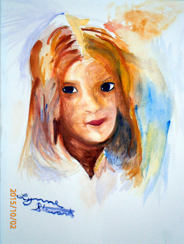 Watercolor Pretty Portrait by Lynne Stewart
