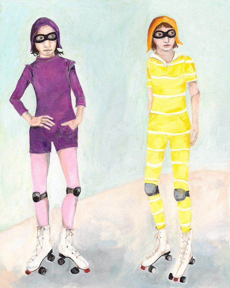 Oil painting Girls on Rollerskates by Katherine Bennett