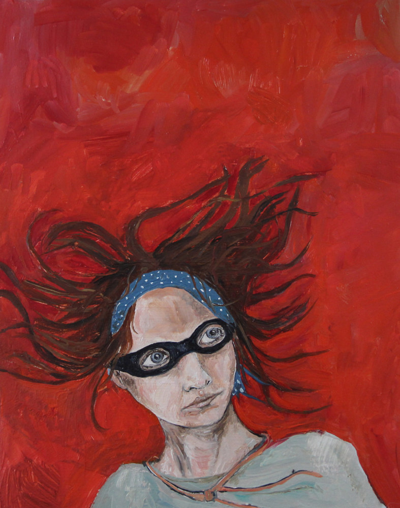 Oil painting A Girl in a Red Sky by Katherine Bennett