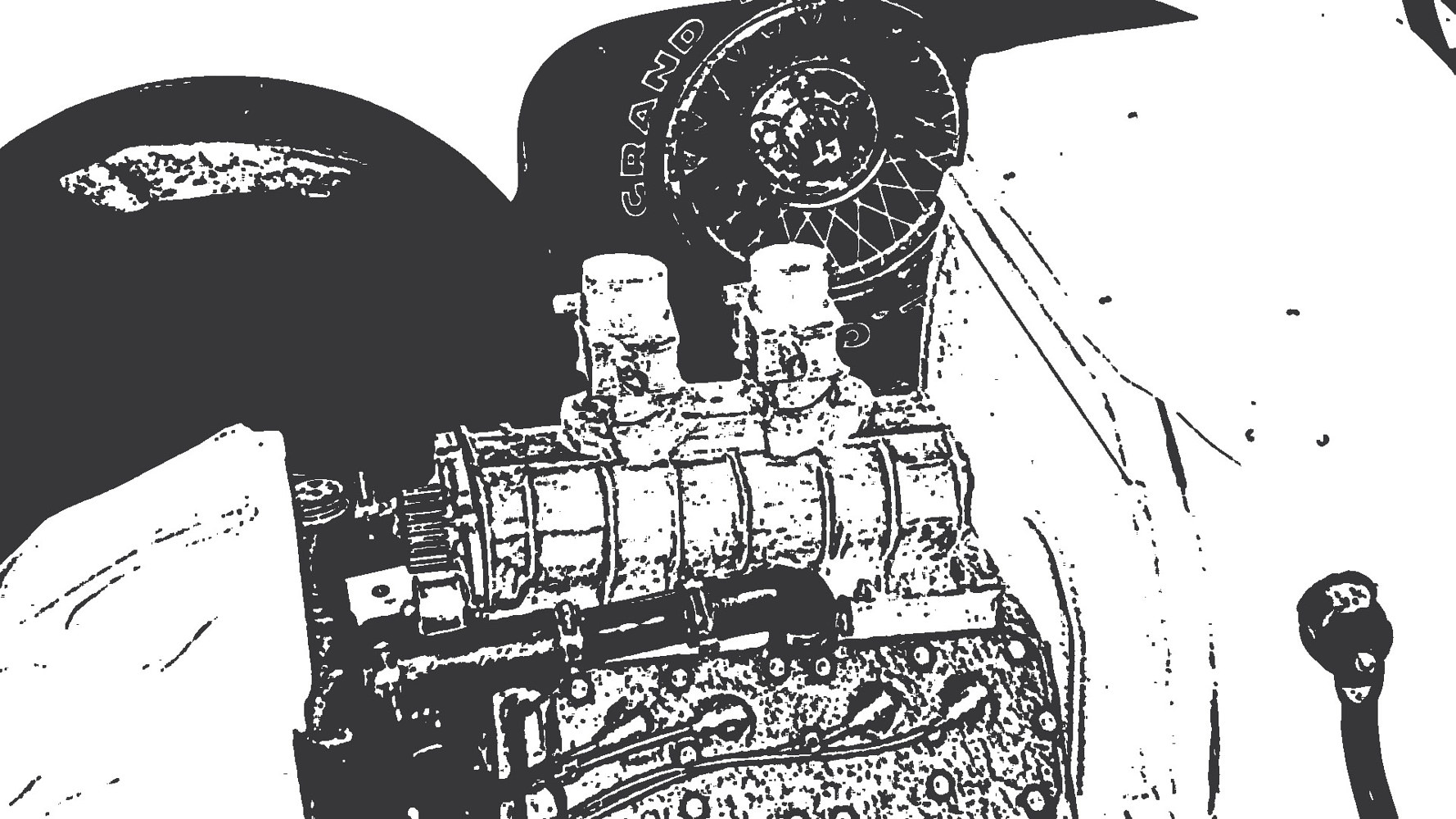 "Hi contrast photo of the supercharged V8 60 engine in the ""K Bucket"" by Tom Kenyon"