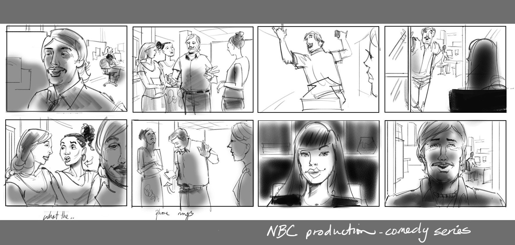 NBC comedy pilot boards for Corduroy Media by Allen Wittert