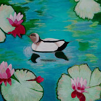 Acrylic painting Waterlily Pond and Wood Duck by Gwenda Branjerdporn