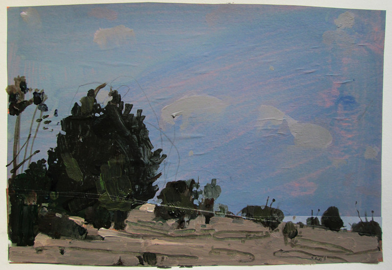 Acrylic painting Nightfall on Lost Dog Hill by Harry Stooshinoff