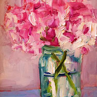 Oil painting Hydrangeas in Mason Jar by Sarah Trundle
