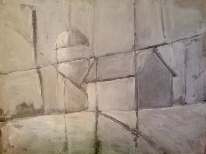 Acrylic painting Abstract in Greys with Barn by Sarah Trundle
