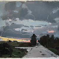 Acrylic painting Home Way...Day's End by Harry Stooshinoff