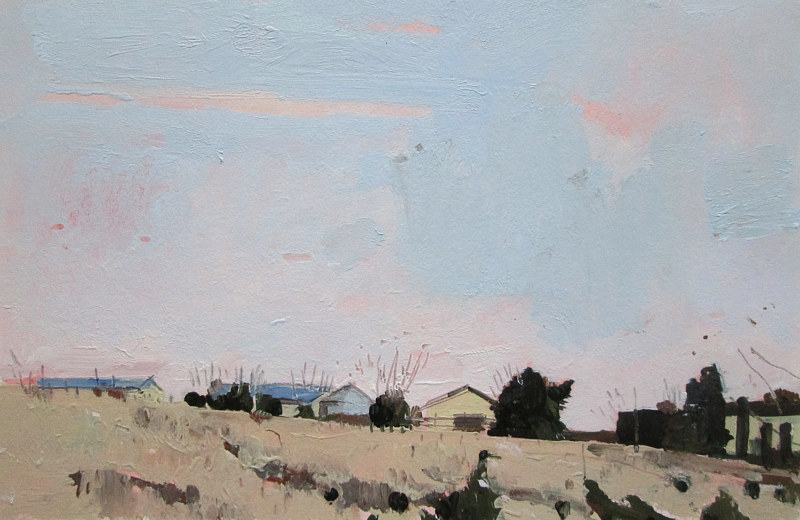 Acrylic painting Farm at Dusk by Harry Stooshinoff
