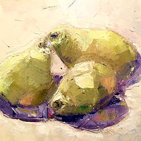 Oil painting Palette Knife Pears by Sarah Trundle