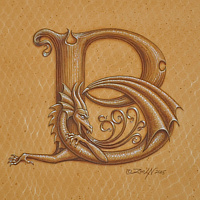 "Acrylic painting Dracoserific B, Gold on Raw Gold 8x8"" square by Sue Ellen Brown"