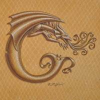 "Acrylic painting Dracoserific C, Gold on Raw Gold 8x8"" square by Sue Ellen Brown"