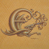 "Acrylic painting Dracoserific letter E, Gold on Raw Gold 8x8"" square by Sue Ellen Brown"