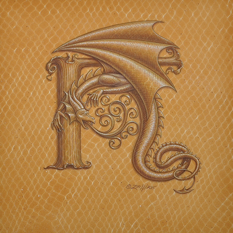 "Acrylic painting Dracoserific letter H, Gold on Raw Gold 8x8"" square by Sue Ellen Brown"