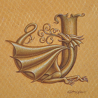 "Acrylic painting Dracoserific letter J, Gold on Raw Gold 8x8"" square by Sue Ellen Brown"