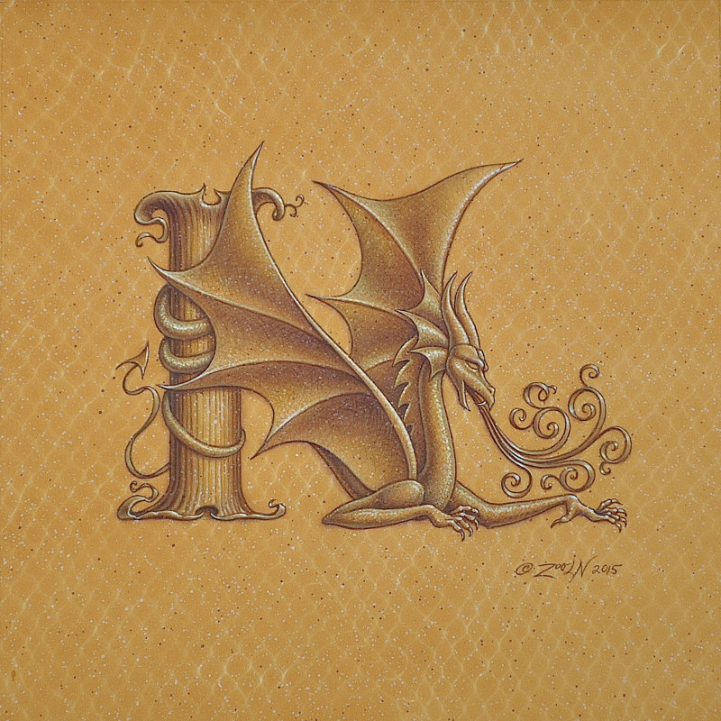 "Acrylic painting Dracoserific letter N, Gold on Raw Gold 8x8"" square by Sue Ellen Brown"