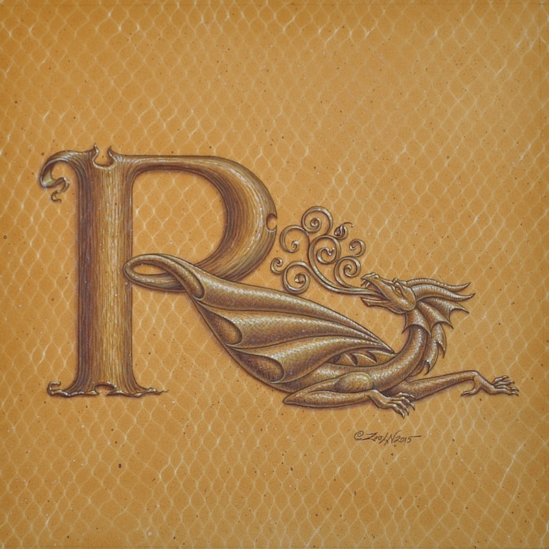 "Acrylic painting Dracoserific letter R, Gold on Raw Gold 8x8"" square by Sue Ellen Brown"
