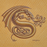 "Acrylic painting Dracoserific letter S, Gold on Raw Gold 8x8"" square by Sue Ellen Brown"