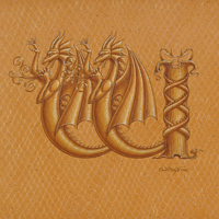 "Acrylic painting Dracoserific letter W-1, Gold on Raw Gold 8x8"" square by Sue Ellen Brown"