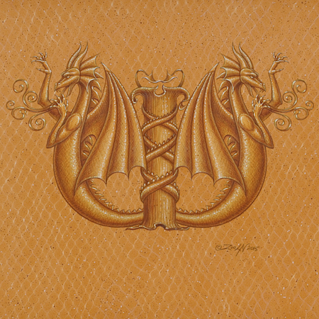 "Acrylic painting Dracoserific letter W-2, Gold on Raw Gold 8x8"" square by Sue Ellen Brown"