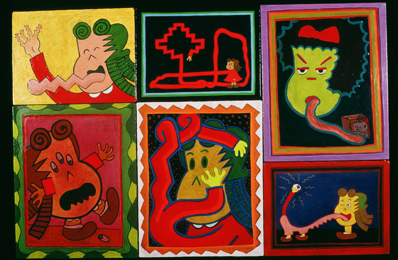 Acrylic painting Configuration of six Lulu paintings by David Faulk