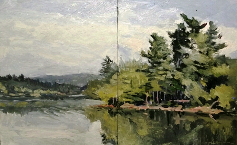 Loch Raven diptych16x10in oil by Michael  Gaudreau