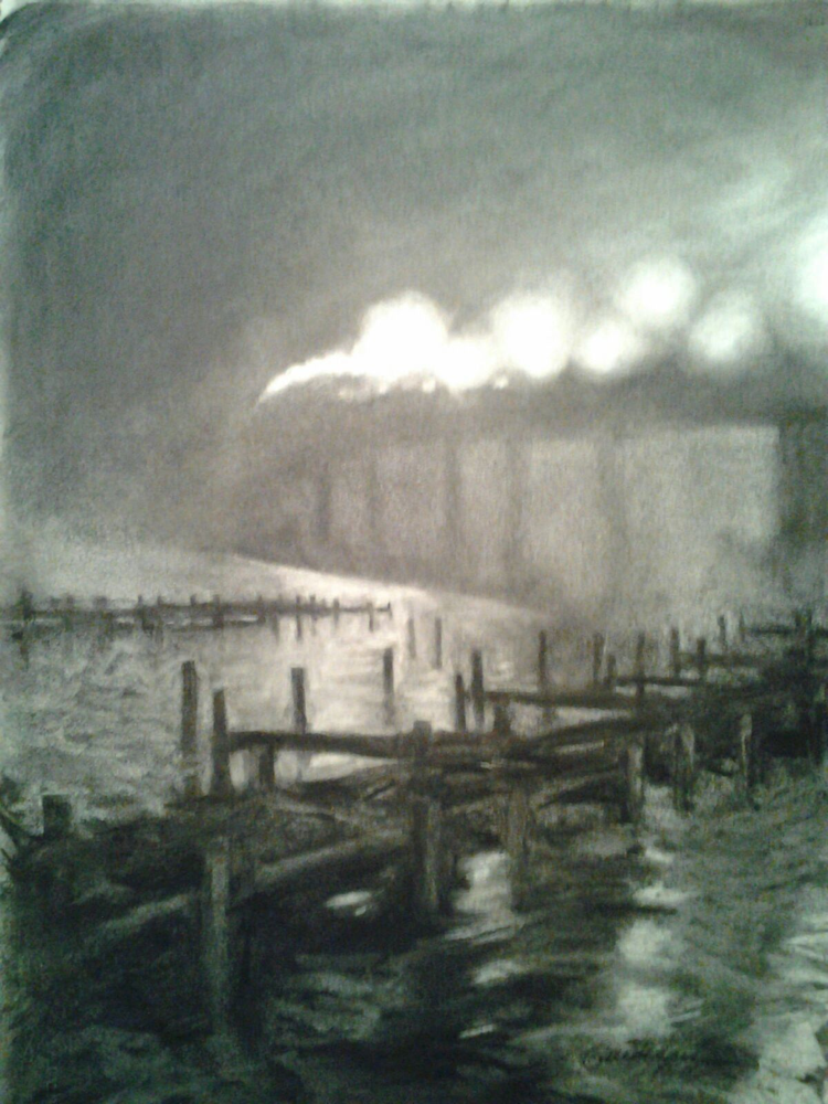 Drawing navy bridge -National Juried exhibition OxfordArts Alliance by Michael  Gaudreau